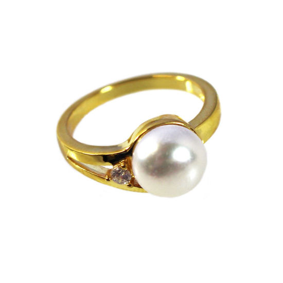 Wholesale Gold Over Sterling Silver Single CZ Stone and Big Freshwater Pearl Ring (1 piece)