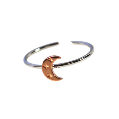 Wholesale Rose Gold Over Sterling Silver Two Tone Crescent Moon Ring - Adjustable (1 piece)