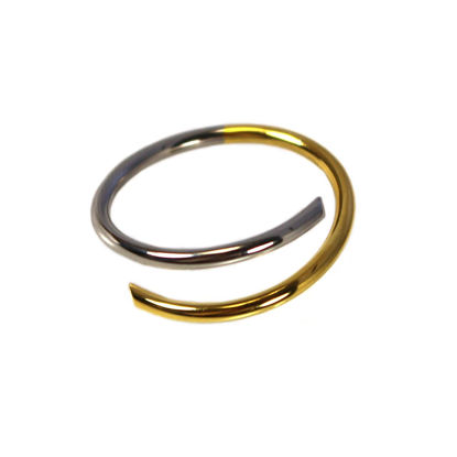 Wholesale Two Tone Sterling Silver and Gold Over Sterling Silver Open Band Adjustable Ring (1 piece)