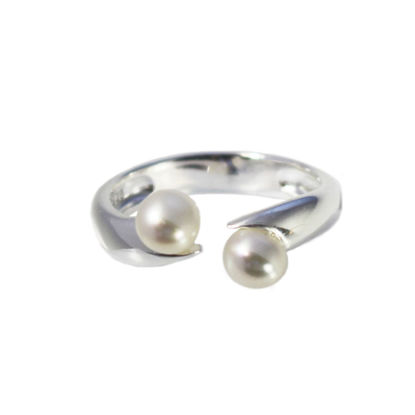 Wholesale 925 Sterling Silver Double Freshwater Pearl Open Ring - Adjustable (1 Piece)