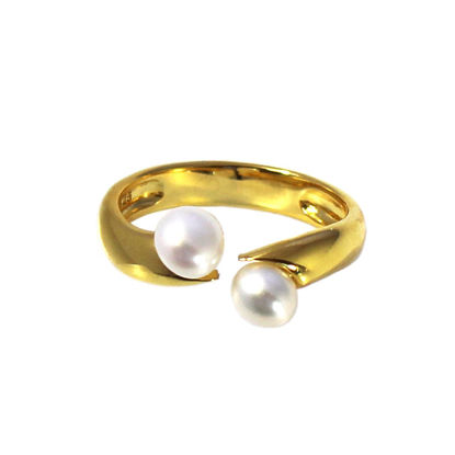 Wholesale Gold Over Sterling Silver Double Freshwater Pearl Open Ring - Adjustable (1 Piece)