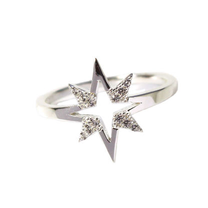 Wholesale Sterling Silver Starburst CZ Stone Pave Ring (1 piece)