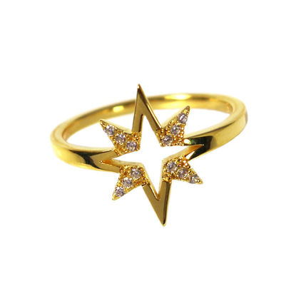 Wholesale Gold Over Sterling Silver Starburst CZ Stone Pave Ring (1 piece)
