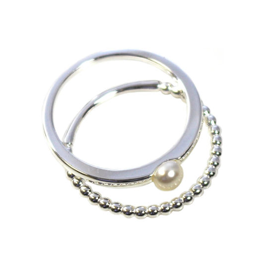 Wholesale 925 Sterling Silver Ball Band and Freshwater Pearl Stacking Ring Set