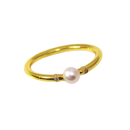 Wholesale Gold Over Sterling Silver Tiny Freshwater Pearl and CZ Stones Ring (1 piece)