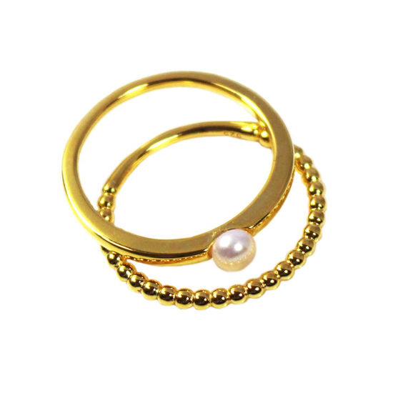 Wholesale Gold Over Sterling Silver Ball Band and Freshwater Pearl Stacking Ring Set