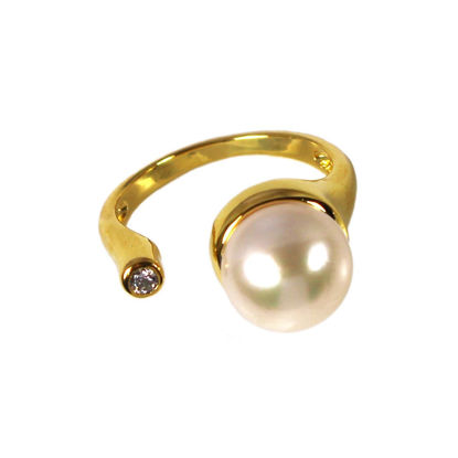Wholesale Gold Over Sterling Silver Big Freshwater Pearl and CZ Stone Open Ring - Adjustable (1 Piece)