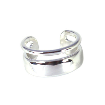 Wholesale Sterling Silver Thick and Thin Double Band Adjustable Ring (1 piece)