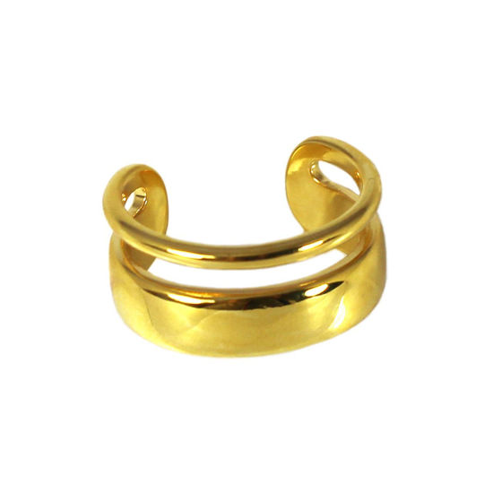 Wholesale Gold Over Sterling Silver Thick and Thin Double Band Adjustable Ring (1 piece)