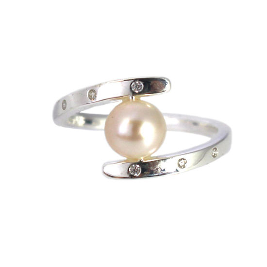 Wholesale Sterling Silver Fancy Freshwater Pearl and CZ Stone Ring (1 piece)