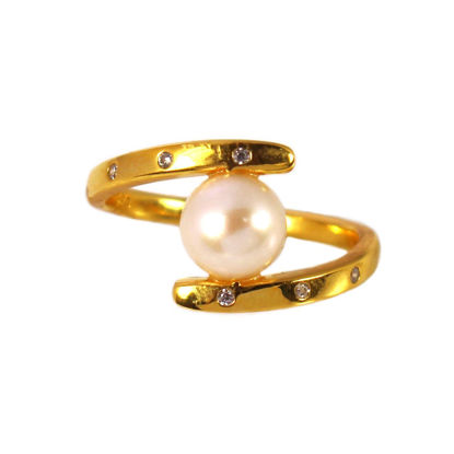 Wholesale Gold Over Sterling Silver Fancy Freshwater Pearl and CZ Stone Ring (1 piece)