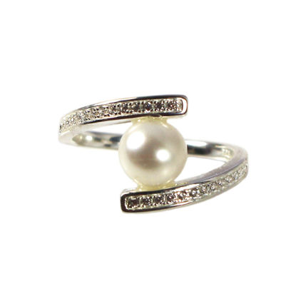 Wholesale Sterling Silver Fancy Freshwater Pearl and Pave CZ Stone Ring (1 piece)