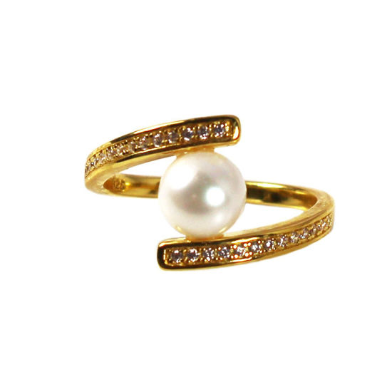 Wholesale Gold Over Sterling Silver Fancy Freshwater Pearl and Pave CZ Stone Ring (1 piece)