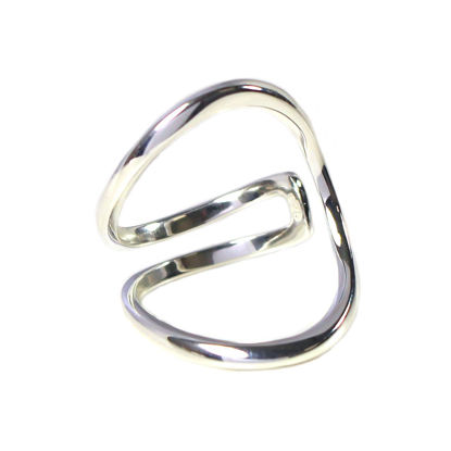 Wholesale Sterling Silver Unique Big Open Band Ring - Adjustable (1 piece)