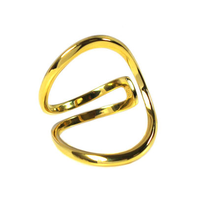 Wholesale Gold Over Sterling Silver Unique Big Open Band Ring - Adjustable (1 piece)