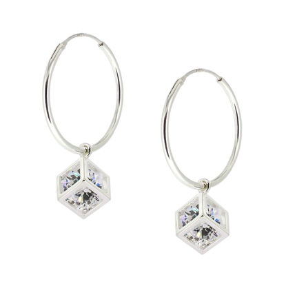Wholesale Sterling Silver CZ Stone Cube Charm Hoop Earrings (Sold Per Pair)