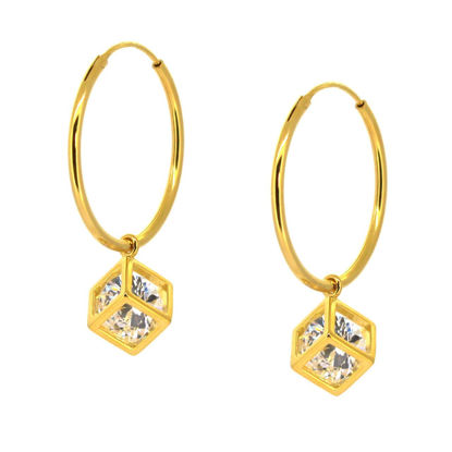Wholesale Gold Over Sterling Silver CZ Stone Cube Charm Hoop Earrings (Sold Per Pair)