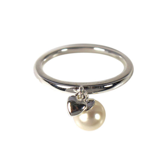 Wholesale 925 Sterling Silver Freshwater Pearl and Heart Charm Ring (1 piece)