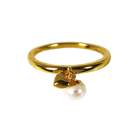 Wholesale Gold Over Sterling Silver Freshwater Pearl and Heart Charm Ring (1 piece)