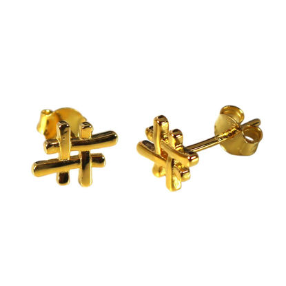 Wholesale Gold Over Sterling Silver Hashtag Earring Studs - 7x10mm (1 pair)
