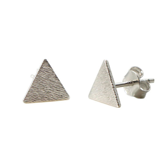 Wholesale Sterling Silver Brushed Metal Triangle Earring Studs  (1 pair)