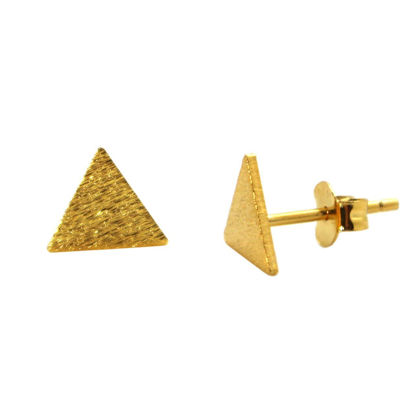 Wholesale Gold Over Sterling Silver Brushed Metal Triangle Earring Studs  (1 pair)