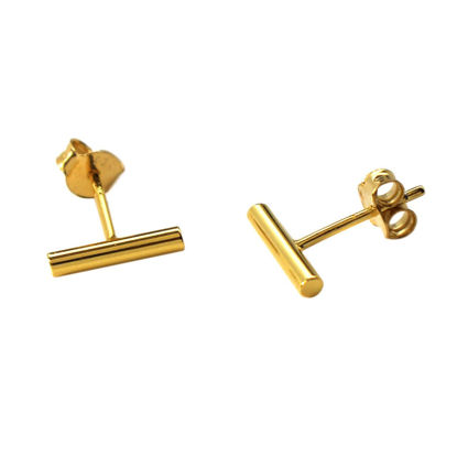 Wholesale Gold Over Sterling Silver Simple Bar Earring Studs  (1 pair)