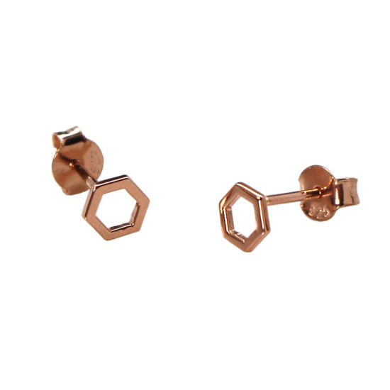 Wholesale Rose Gold Over Sterling Silver Hexagon Earring Studs  (1 pair)