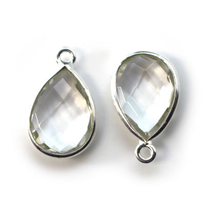 Wholesale Bezel Gemstone Pendant -Sterling Silver Bezel Gemstone 10x14mm Faceted Small Teardrop - Crystal Quartz - April Birthstone