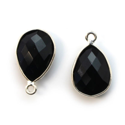 Wholesale Sterling Silver Bezel Gemstone Pendant - 10x14mm Faceted Small Teardrop - Black Onyx