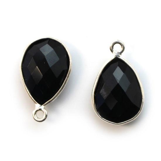 Wholesale Sterling Silver Bezel Gemstone Pendant - 10x14mm Faceted Small Teardrop - Black Onyx