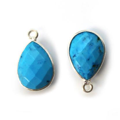Wholesale Bezel Gemstone Pendant -Sterling Silver Bezel Gemstone 10x14mm Faceted Small Teardrop - Turquoise