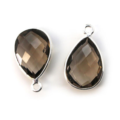 Wholesale Bezel Gemstone Pendant -Sterling Silver Bezel Gemstone 10x14mm Faceted Small Teardrop - Smoky Quartz