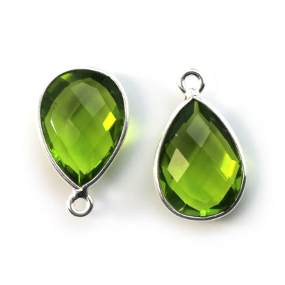 Wholesale Bezel Gemstone Pendant -Sterling Silver Bezel Gemstone 10x14mm Faceted Small Teardrop - Peridot Quartz -August Birthstone