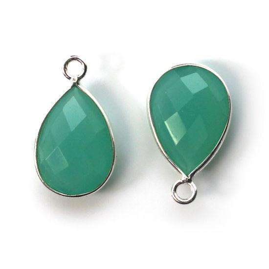Wholesale Bezel Gemstone Pendant -Sterling Silver Bezel Gemstone 10x14mm Faceted Small Teardrop - Peru Chalcedony