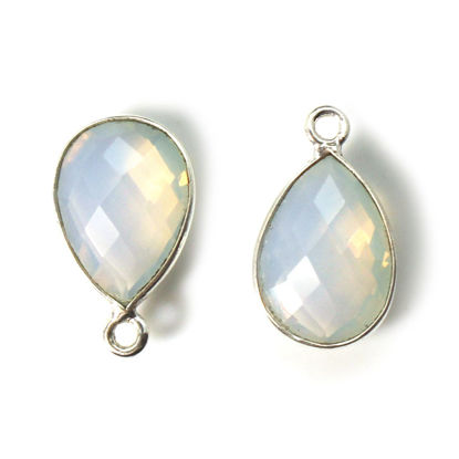 Wholesale Bezel Gemstone Pendant -Sterling Silver Bezel Gemstone 10x14mm Faceted Small Teardrop - Opalite Quartz -October Birthstone