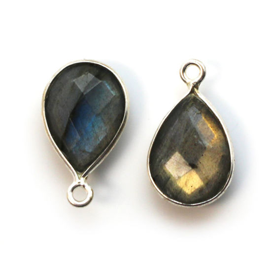 Wholesale Bezel Gemstone Pendant -Sterling Silver Bezel Gemstone 10x14mm Faceted Small Teardrop - Labradorite