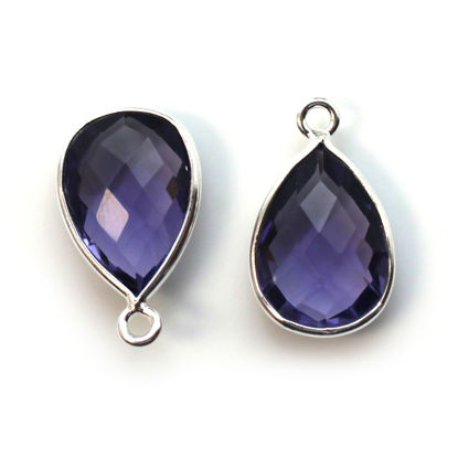 Wholesale Bezel Gemstone Pendant -Sterling Silver Bezel Gemstone 10x14mm Faceted Small Teardrop - Iolite Quartz
