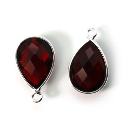 Wholesale Bezel Gemstone Pendant -Sterling Silver Bezel Gemstone 10x14mm Faceted Small Teardrop - Garnet Quartz