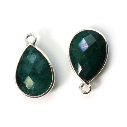 Wholesale Bezel Gemstone Pendant -Sterling Silver Bezel Gemstone 10x14mm Faceted Small Teardrop - Emerald Dyed