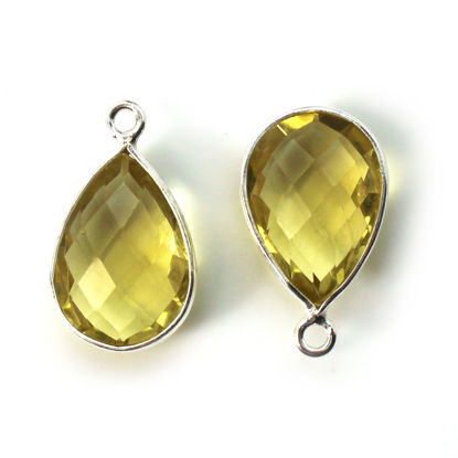 Wholesale Bezel Gemstone Pendant -Sterling Silver Bezel Gemstone 10x14mm Faceted Small Teardrop - Citrine Quartz