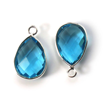 Wholesale Bezel Gemstone Pendant -Sterling Silver Bezel Gemstone 10x14mm Faceted Small Teardrop - Blue Topaz Quartz