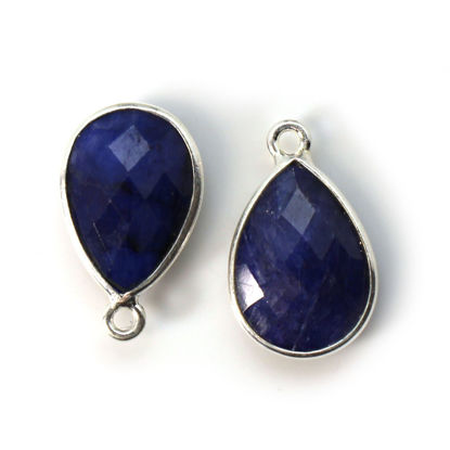 Wholesale Bezel Gemstone Pendant -Sterling Silver Bezel Gemstone 10x14mm Faceted Small Teardrop - Blue Sapphire Dyed
