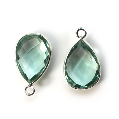 Wholesale Bezel Gemstone Pendant -Sterling Silver Bezel Gemstone 10x14mm Faceted Small Teardrop - Aqua Quartz
