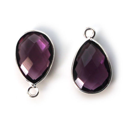 Wholesale Bezel Gemstone Pendant -Sterling Silver Bezel Gemstone 10x14mm Faceted Small Teardrop - Amethyst Quartz