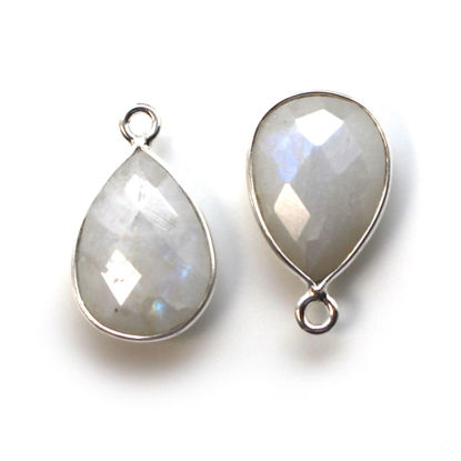 Wholesale Bezel Gemstone Pendant -Sterling Silver Bezel Gemstone 10x14mm Faceted Small Teardrop - Moonstone - June Birthstone