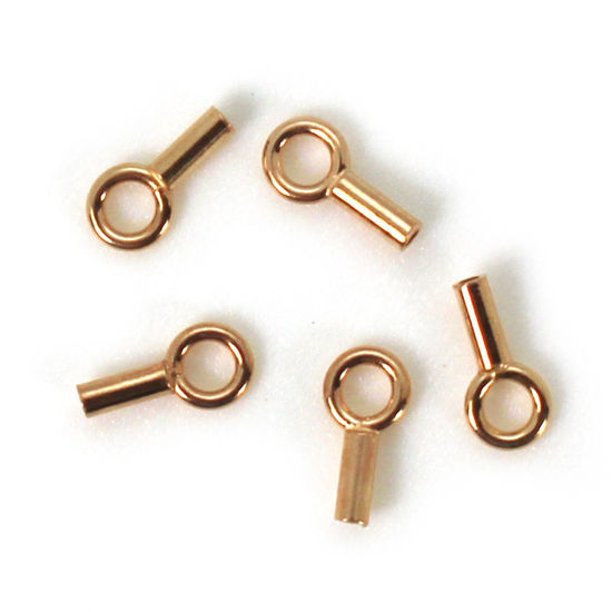 Wholesale Rose Gold Over Sterling Silver Plain Tube End - 8mm (sold per 10 pcs)