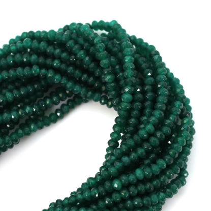 Semi-Precious Gemstone Beads - 3.5-4mm Faceted Rondelle - Geen Onyx - May Birthstone (1 Strand)