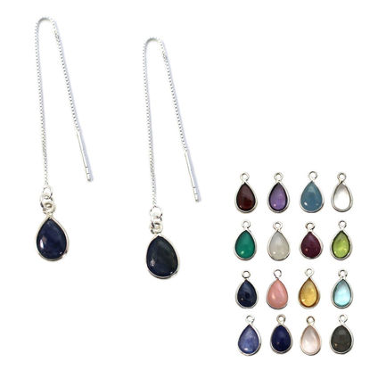 Wholesale Sterling Silver Natural Birthstone Gemstone Teardrop Ear Threads (Sold Per Pair)