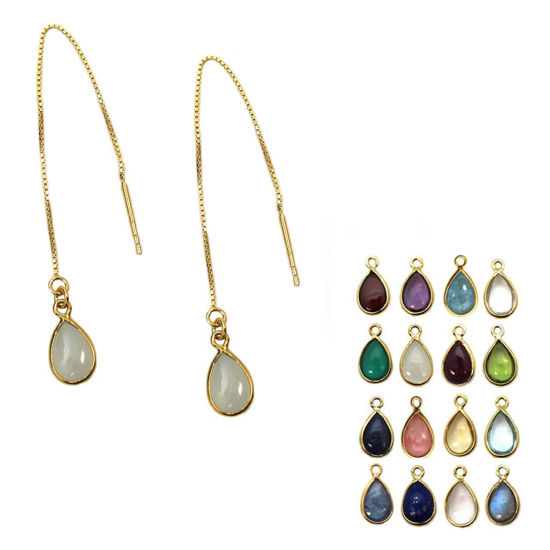 Wholesale Gold Over Sterling Silver Natural Birthstone Gemstone Teardrop Ear Threads (Sold Per Pair)